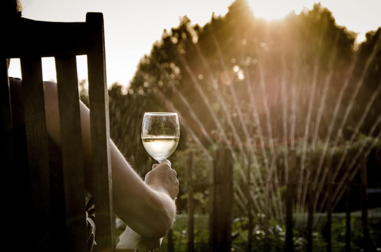 Ett glas vin på terrassen